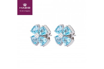 Blue Topaz Gemstone Diamond Earrings