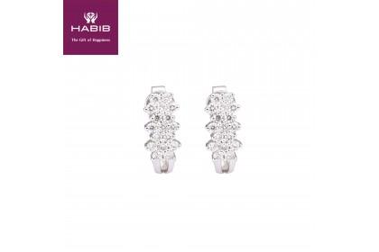 Bunga Tanjung Aster White Gold Diamond Earrings