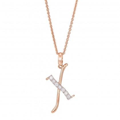 Corsiva-X Alphabet Diamond Necklace in 375/9K Rose Gold 55570(X)