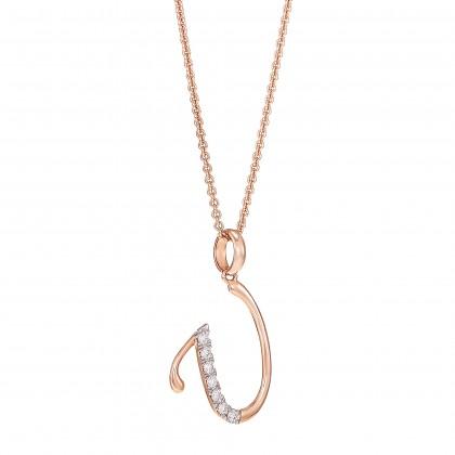 Corsiva-U Alphabet Diamond Necklace in 375/9K Rose Gold 55570(U)