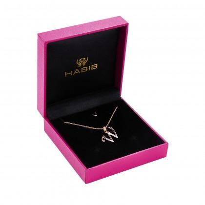 HABIB Corsiva-W Alphabet Diamond Necklace in 375/9K Rose Gold 55570(W)