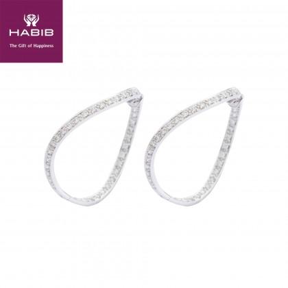 Fancy Hoop Diamond Earrings in 750/18K White Gold 44557