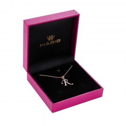Corsiva-R Alphabet Diamond Necklace in 375/9K Rose Gold 55570(R)