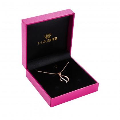 Corsiva-D Alphabet Diamond Necklace in 375/9K Rose Gold 55570(D)