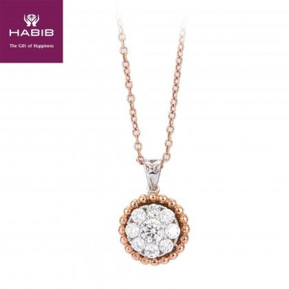 Segai Diamond Necklace in 750/18K White and Rose Gold 55575