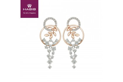 Consort Ban White and Rose Gold Diamond Earrings