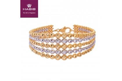 Oro Italia 916 ED Stella White and Yellow Gold Bangle (29.96G) GB8087-BI