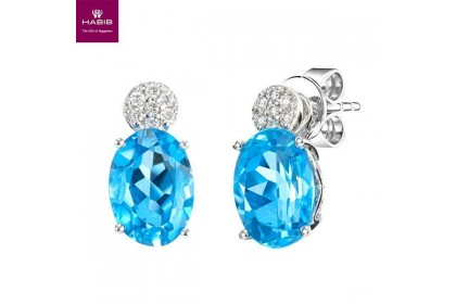 Azure Blue Topaz Diamond Earrings