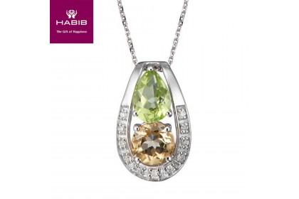 HABIB Citrine Peridot Diamond Necklace
