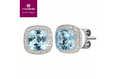 HABIB Blue Topaz Cushion Diamond Earrings