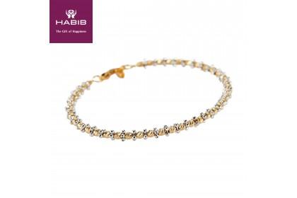Oro Italia 916 Piccolo White and Yellow Gold Bangle (8.23G) GB8047-BI