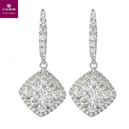 Crimson Rose Diamond Earrings in 750/18K White Gold 45544