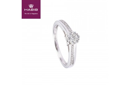 Adore Cluster Set Round Diamond Ring in 750/18K White Gold 23523