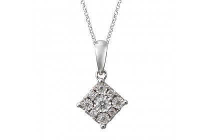 Square Illusion Diamond Necklace 24527(N)