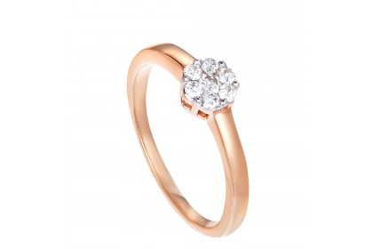 Adore Straight-shank Round Diamond Ring in 375/9K Rose Gold