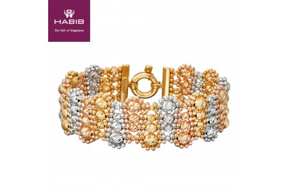 Oro Italia 916 Stella White, Yellow and Rose Gold Bangle, 916 Gold (42.62G) GB86520220-TI