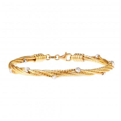Oro Italia 916 Cavo White and Yellow Gold Bangle (17.01G) GB8174-BI
