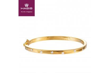 Oro Italia 916 Luna White and Yellow Gold Bangle (14.12G) GB8586-BI