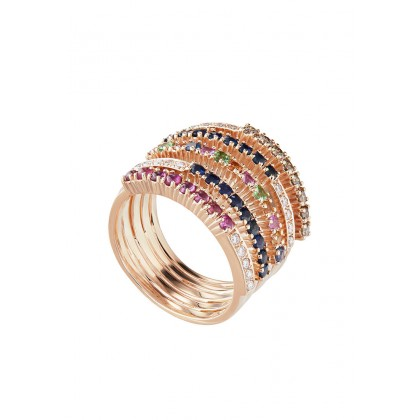 Cabochon Ruby and Round Multi-Coloured Gemstones Ring in 375/9K Rose Gold 258670520