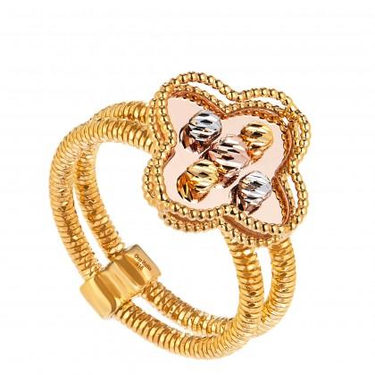 Oro Italia 916 Milano White, Yellow and Rose Gold Ring (6.90G) GR44240820-TI