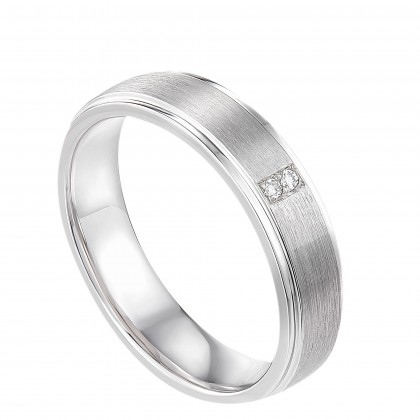 Flush Set Diamond Men's Ring in 925/Palladium 11754(PLD)