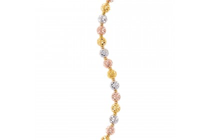 Oro Italia 916 Piccolo White, Yellow and Rose Gold Bracelet (13.47G) GW3547-TI