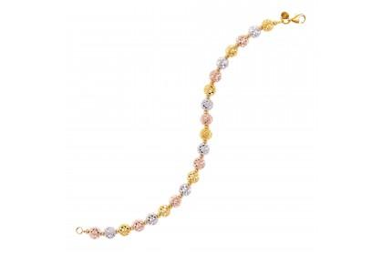 Oro Italia 916 Piccolo White, Yellow and Rose Gold Bracelet (12.75G) GW3547-TI