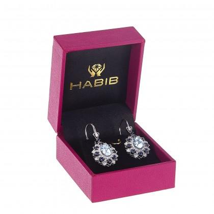 Oval Cut Aquamarine and Blue Sapphire Round Diamond Earrings in 375/9K White Gold 456610321(E)