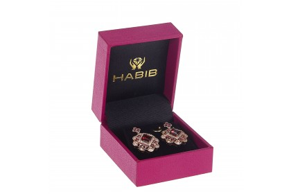 Square Cut Garnet and Ruby Round Diamond Earrings in 375/9K Rose Gold 456620321(E)