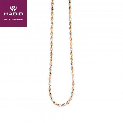 Oro Italia 916 Piccolo White, Yellow and Rose Gold Necklace (27.44G) GC2260-TI