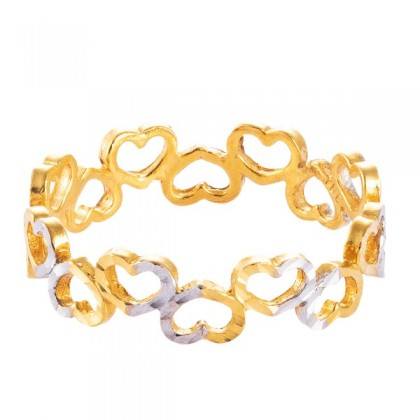 Love Line White and Yellow Gold Ring, 916 Gold (1.64G) RCC033