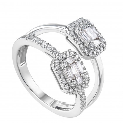 Fire On Ice Split-shank Baguette and Round Diamond Ring in 375/9K White Gold 259731220