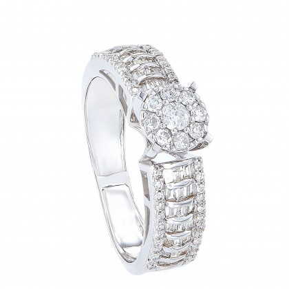 Channel Set Round and Baguette Diamond Ring in 375/9K White Gold 25810