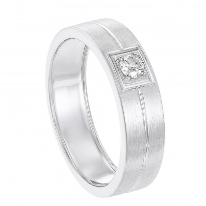 Round Diamond Men's Ring in 925 / Palladium 00819(PLD)
