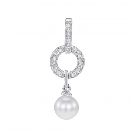 Amalthea Pearl Round Diamond Pendant in 375/9K White Gold PN012357C