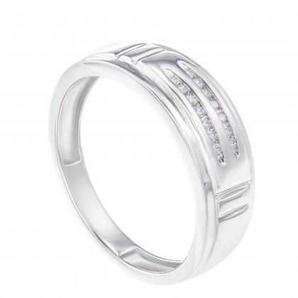 Channel Set Round Diamond Men's Ring in 925/ Palladium 260340321(PLD)