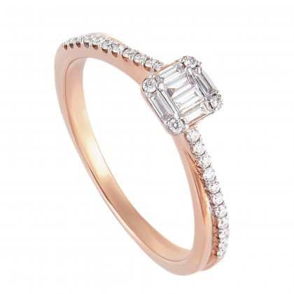 Fire On Ice Tapered and Round Diamond Ring in 375/9K Rose Gold 259531120