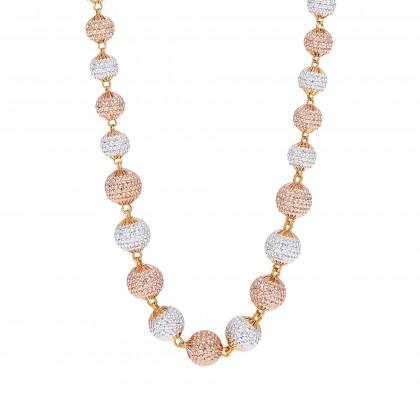 Oro Italia 916 Grande White, Yellow and Rose Gold Necklace (60.22G) GC2439-TI