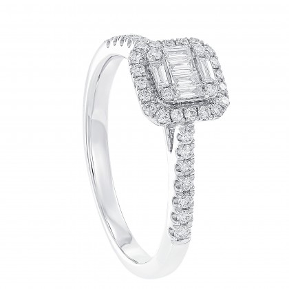Fire On Ice Tapered and Round Diamond Ring in 750/18K White Gold 259501120(WG)