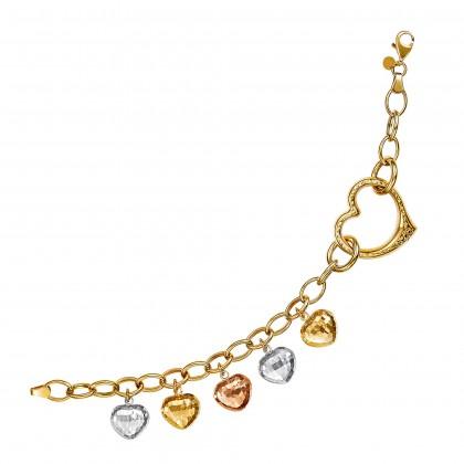 Oro Italia 916 Amore White, Yellow and Rose Gold Bracelet (12.09G) GW36450720-TI