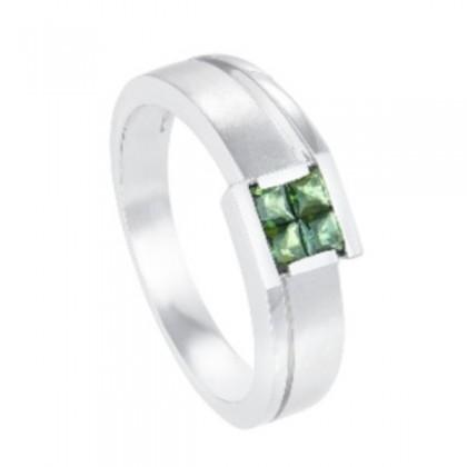 Tourmaline Channel Set Diamond Men's Ring in 925/Palladium 22989(PLD)-TURM