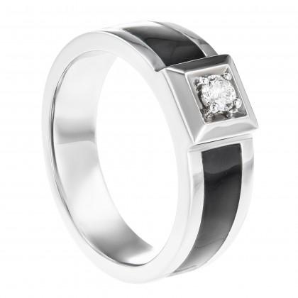Round Diamond Men's Ring in 925/ Palladium A0551(PLD)