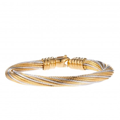 Oro Italia 916 Cavo White and Yellow Gold Bangle (49.74G) GB8324-BI