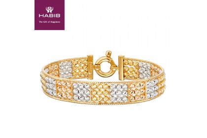 Oro Italia 916 White, Yellow and Rose Gold Bangle (28.08G) GB86500220-TI