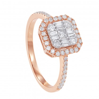 Fire on Ice Princess, Baguette and Round Cut Diamond Ring in 375/9K Rose Gold 260990621(R)