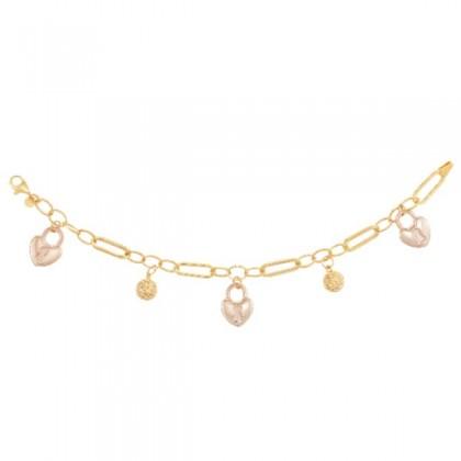 Oro Italia 916 Graffetta Yellow and Rose Gold Bracelet (8.72G) GW38710621(YR)-BI