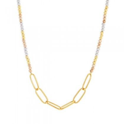 Oro Italia 916 White, Yellow and Rose Gold Necklace (15.01G) GC26150521-TI