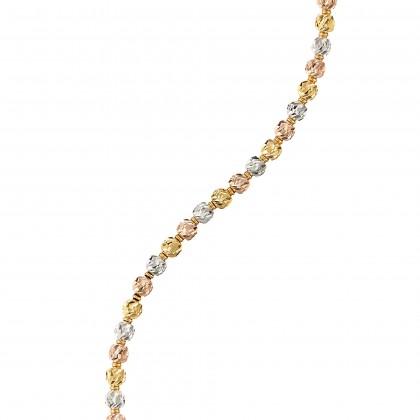 Oro Italia 916 Piccolo White, Yellow and Rose Gold Bracelet (6.87G) GW3012-TI