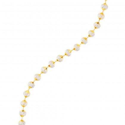 Oro Italia 916 Beads Planet White and Yellow Gold Bracelet (11.00G) GW3167(5)-BI