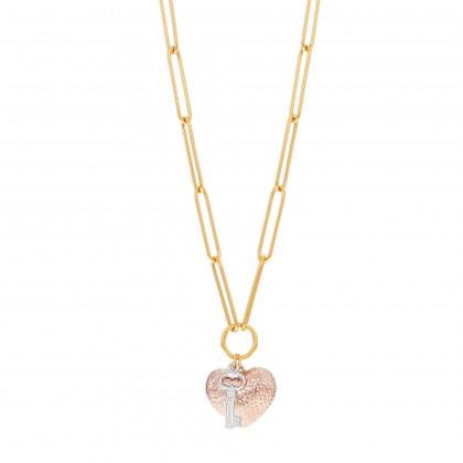 Oro Italia 916 Graffetta White, Yellow and Rose Gold Necklace (14.61G) GC25890421-TI